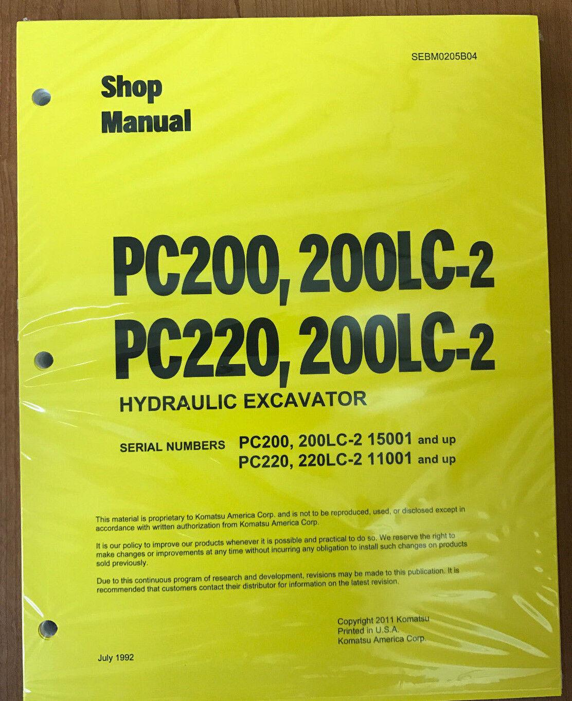 Komatsu Pc200 220 2 Pc220 220lc Excavator Shop Manual Ebay Excavators Wiring Diagram