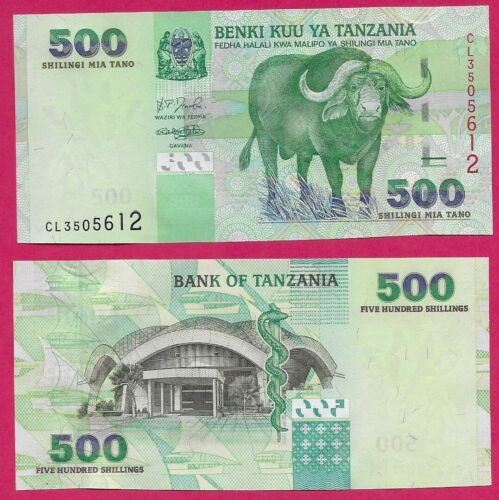 TANZANIA 500 SHILLINGI 2003 UNC 500 SHILLINGI 2003 UNC CAPE BUFFALO AT CENTER RI