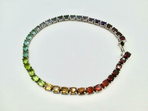 Details about  /MULTI GEMSTONE 39 STONE RAINBOW COLORED STERLING SILVER BRACELET 8.25 INCH