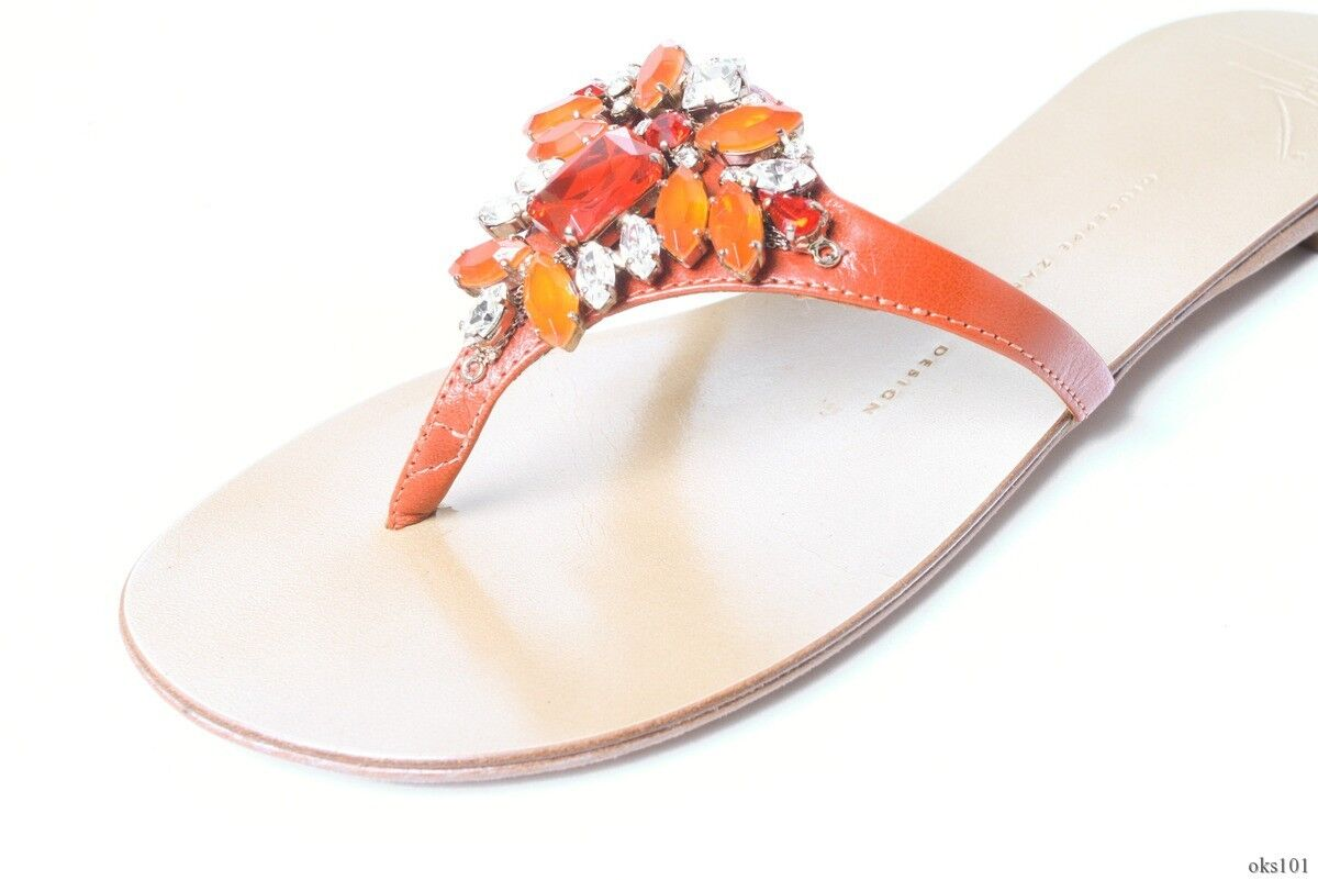 new $595 Giuseppe ZANOTTI JEWELED coral JEWELED ZANOTTI thong mules flats shoes 37 7 - gorgeous a117a7