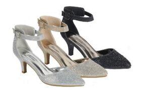 1b152c237bd New Glitter Jeweled Rhinestone Ankle Strap Pump Sandal Shoes Med Low ...