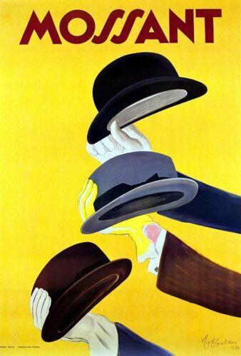 MOSSANT CHAPEAU Publicité Métal Tin Signe Affiche Plaque Murale