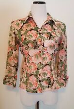 Odille Anthropologie Pink & Green Floral Shirt Button Down Sz 8