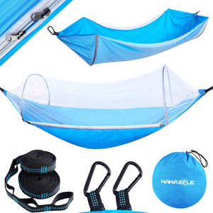 Camping Hammock With Mosquito Net Includes Tree Straps And Carabiners