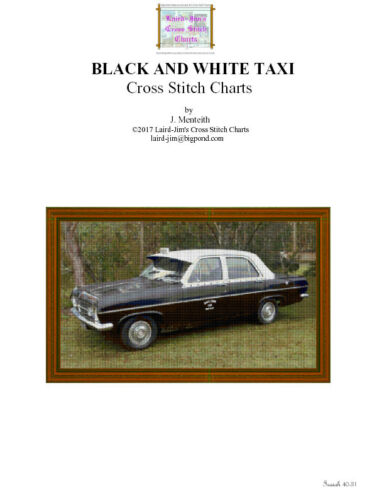 BLACK AND WHITE TAXI CROSS STITCH CHART