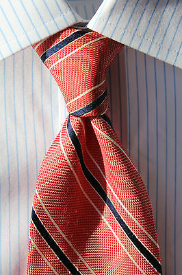 Brooks Brothers '346' Red/Pink, Blue & White Striped Silk Tie - Big & Tall - USA