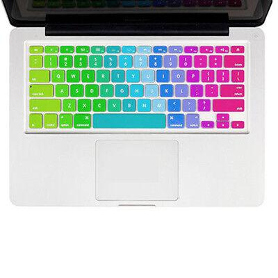 "Cute Silicone Rainbow Keyboard Skin Cover For Apple Macbook Air Mac 13""15""17"" US"