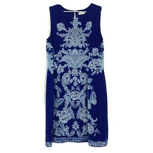 Capture-Womens-Blue-with-Flowers-Sleeveless-Long-Lined-Dress-Size-14