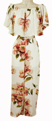 BISOU/'S PROJECT S//M /& M//L LB203 Manches courtes Floral Bardot Top /& Pantalon
