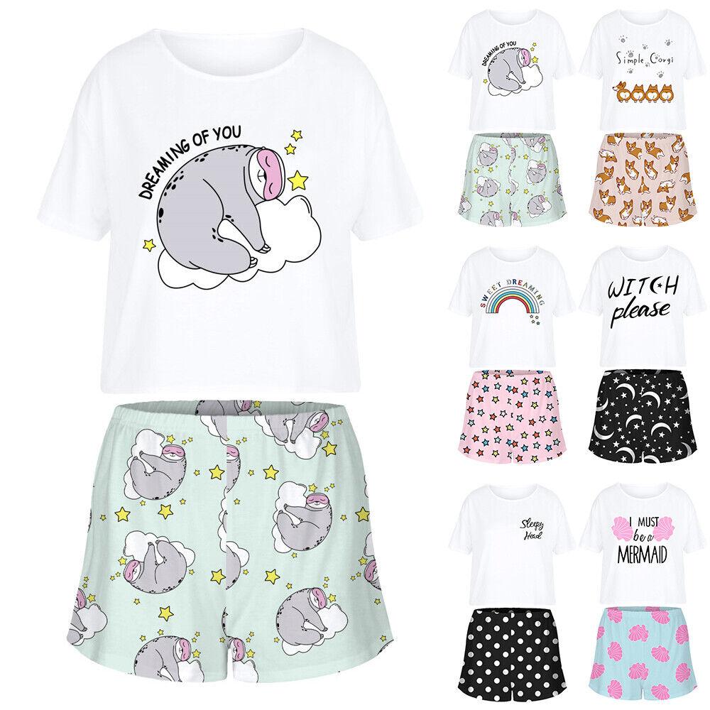 Damen Sommer Schlafanzug Outfits Kurzarm Shirt Top+Shorts Kurzhose Hausanzug Set