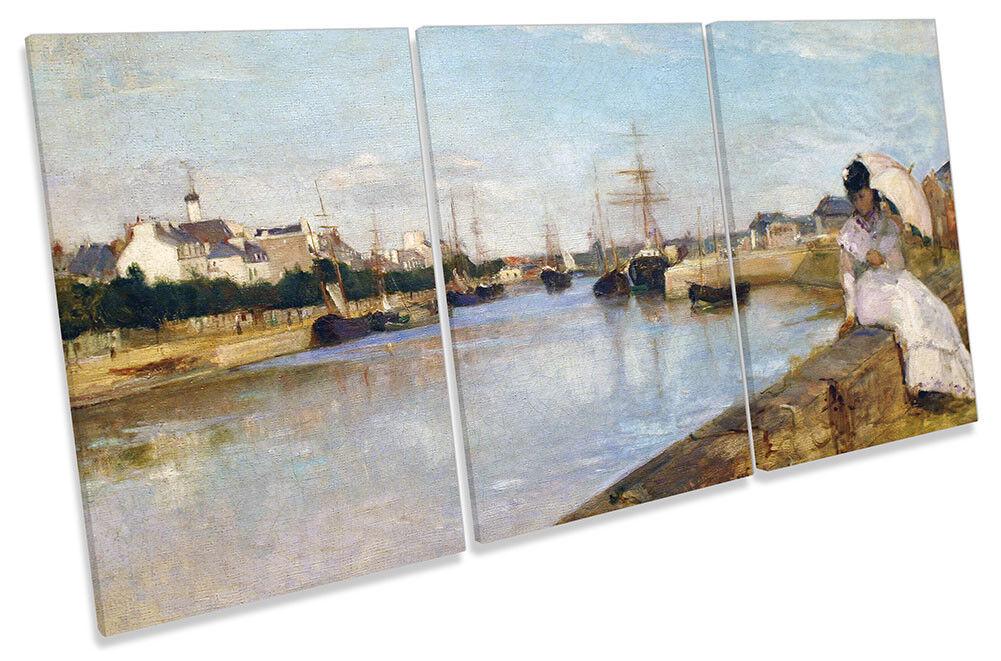 Berthe Morisot The Harbor at Lorient CANVAS WALL ART TREBLE Print