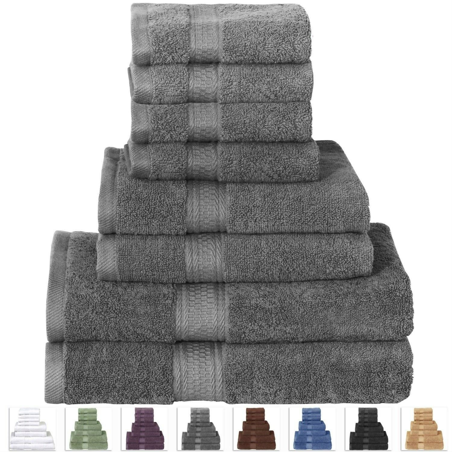 BATH TOWEL SET -8 PIECE-6 DIFFERENT FarbeS TO CHOOSE FROM--grau SHOWN