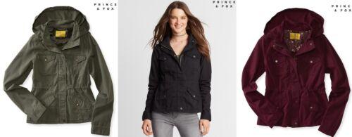 AERO Aeropostale Prince /& Fox Solid Full Zip Parka Jacket Coat  XS,S,M,L,XL NEW