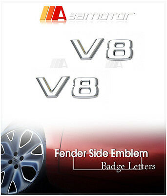 2x 3D Mercedes V8 Chrome Side Emblem Letters Badge CLK W211 S500 E500 W203 AMG