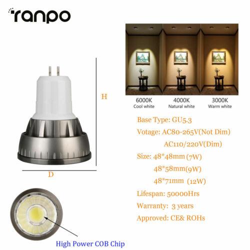 GU10//MR16//E27//GU5.3//E14 Dimmable LED COB Bulbs Spotlight 7W 9W 12W Lamp RD729