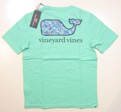 Vineyard vines Boy/'s Tropical Tortues baleine Fill Bleu Capri S//S Vert T-Shirt