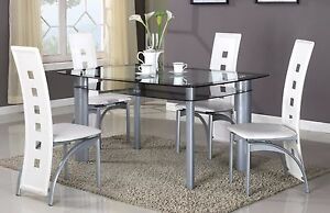 brand new 5 pcs modern dining set glass top dining room table amp 4
