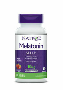 Natrol MELATONIN 10 mg 60 FAST DISSOLVE Tablets Sleep Aid  STRAWBERRY Flavor