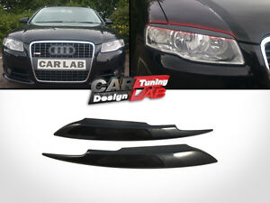 Black-eyelids-eyelid-eyebrows-Headlight-Cover-Fits-2005-2008-Audi-A4-S4-B7-Sline