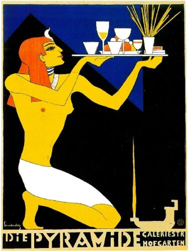 Early 1900/'s Di E Pyramide Egypt Arab Food /& Wine Advertisement Art Poster