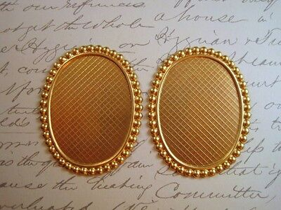 40x30mm Raw Brass Settings No Ring (2) - S4880 Jewelry Finding