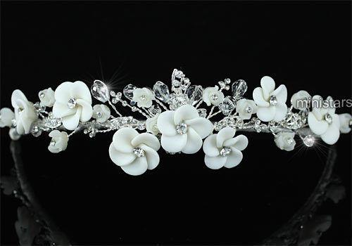 Bridal Wedding Prom Handmade White Flower Ceramic Crystal Headband