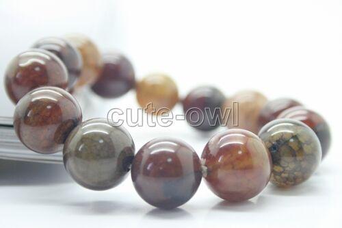 14 Mm Multi Color chinois naturel Agate Élastique Perle Bracelet Jonc
