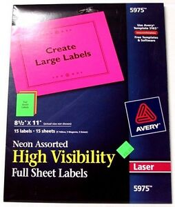 avery 5975 neon assorted high visibility full sheet labels 8 1 2 x
