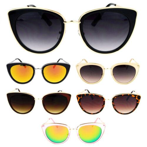 SA106 Womens Metal Trim Cat Eye Goth Fashion Sunglasses