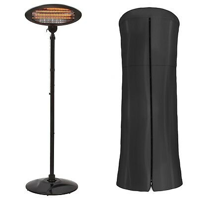 Garden Glow 2KW Electric Patio Heater Freestanding Outdoor Fire Warmer & Cover