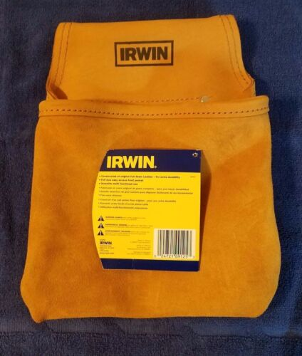 FASTENER TOOL BAG POUCH NEW IRWIN 1 POCKET FULL GRAIN LEATHER NAIL SCREW