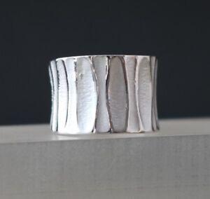 Breiter-Silberring-fuer-Damen-925er-Sterling-Silber-Bandring-Wellen-Muster-massiv