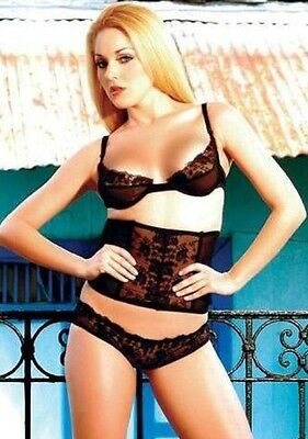 8e99a9d79a2 3 PC BLACK LACE LINGERIE SET - BRA , WAIST CINCHER / WASPIE & BRIEFS XL 12  14 | eBay