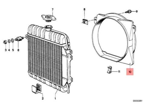 Genuine BMW E21 Sedan Radiator Fan Shroud OEM 17111116512