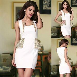 Sz-12-14-White-Gold-Sequin-Sleeveless-Peplum-Sexy-Cocktail-Party-Club-Mini-Dress