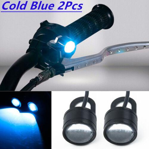 2*Car Motorcycles Spotlight Ice Blue LED Headlight Daytime Running Light Driving