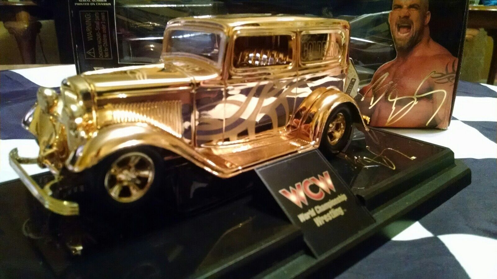 1998 Bill Goldberg Cargraphed 24kt Gold Plated WCW Nitro Street Rod 1 24