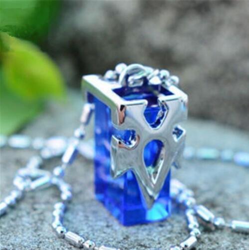 Anime Sword Art  SAO Kirito Asuna Yuki Blue Metastasis Crystal Necklace Blue