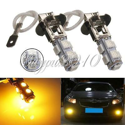 2x H3 9SMD 5050 Car LED Fog Driving Headlight Light Lamp Bulb Amber Yellow DC12V