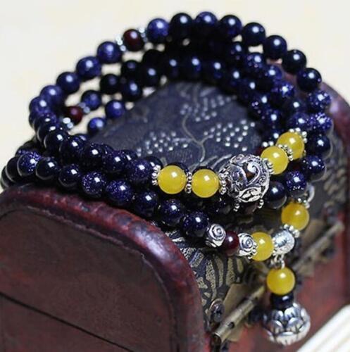Naturel Bleu Grès 6 mm 108 prière Mala Perles Lucky Bracelet Élastique Rétro
