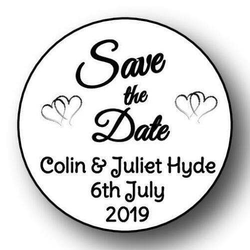 105  37mm WEDDING SAVE THE DATE 37 MM PERSONALISED  ANNIVERSARY  STICKER LABELS