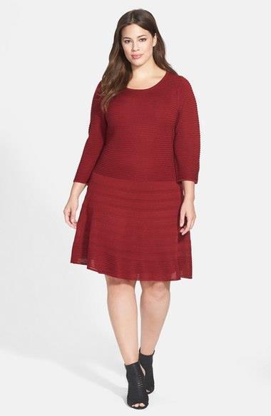 BB Dakota Plus Size 3X Fit Flare Wool Blend Dark Red Sweater Dress 3 4 Sleeves
