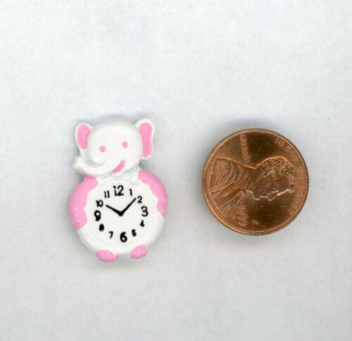 "Miniature Dollhouse White Elephant Clock w// Pink Trim Flat Back 1/"" H"