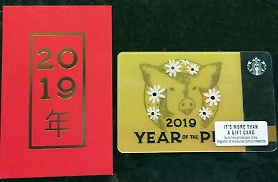 Starbucks Card 2019 Pig Chinese New Year Gift Card Thailand with envelope//sleeve