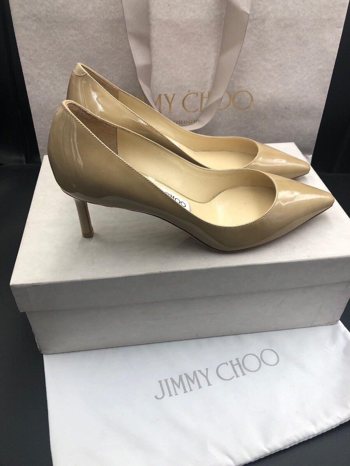 Jimmy Choo Romy 60 Nude Patent Mid Heels Pumps schuhe Größe Uk 3 Eu 36 Rrp