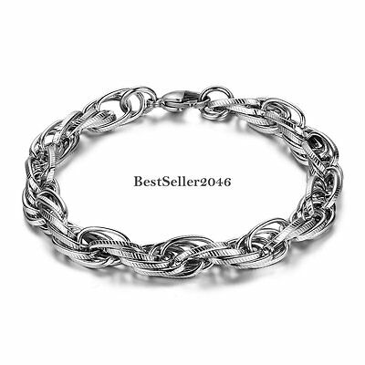 Twisted Tri Link Cable Chain Bracelet Bangle for Men Stainless Steel Silver Cool