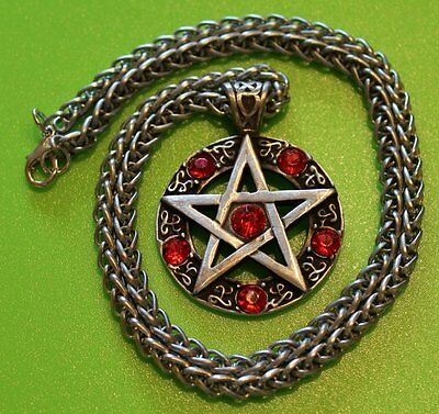 Celtic Wicca Pagan Magic Pentagram with Crystal Pewter Pendant Necklace on Chain