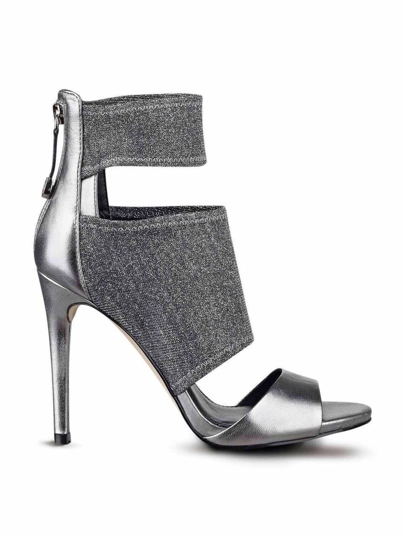 120 Guess Cayen Cutout High Heels Silver Multi Stretch Fabric Größe 5.5