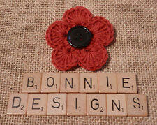 Hand Crochet Flower Corsage/Brooch - RED - POPPY REMEMBRANCE day w/Black BUTTON