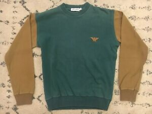 Vintage-Giorgio-Armani-Crewneck-Sweater-Mens-Sz-Small-Teal-Tan-90s-Retro-EUC-B7